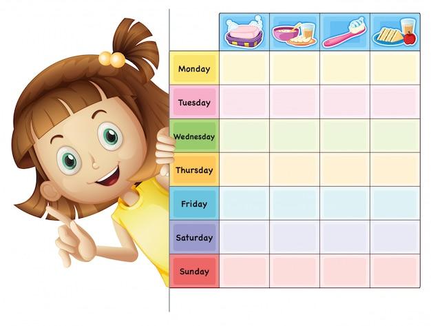 Ein mädchen und ein kalender Premium Vektoren