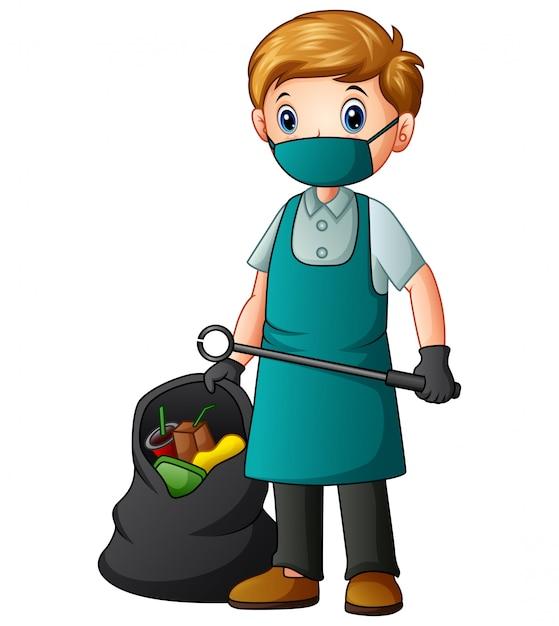 Ein männlicher reiniger, der zangen und abfallbeutel hält Premium Vektoren