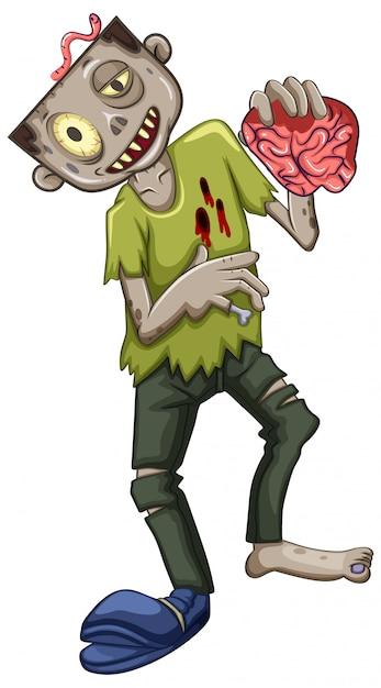 Ein männlicher zombie-charakter Kostenlosen Vektoren