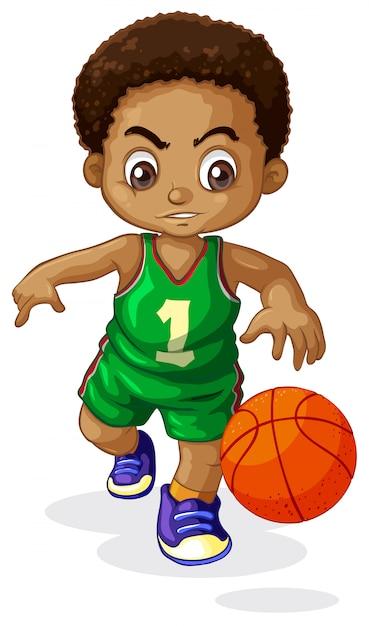 Ein männliches basketballspielerkind Kostenlosen Vektoren