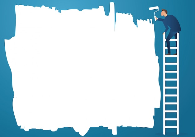 Ein mann auf leiter malen mit einem farbroller Premium Vektoren