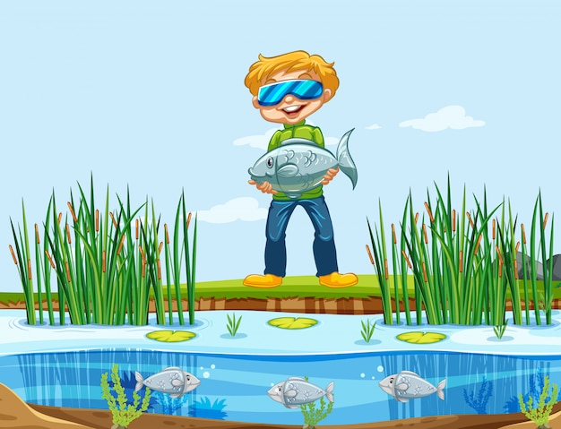 Ein mann, der fische fängt Kostenlosen Vektoren