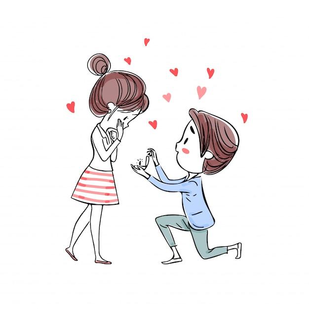 Ein mann, der kniet, präsentiert einen ring, in dem er sie zur heirat auffordert. Premium Vektoren