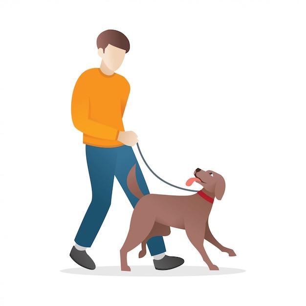 Ein mann geht mit seinem hund spazieren Premium Vektoren