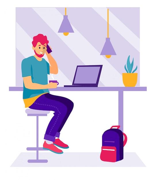 Ein mann in einem café mit einem laptop. junger mann bei der arbeit, die im café, trinkender kaffee sitzt Premium Vektoren