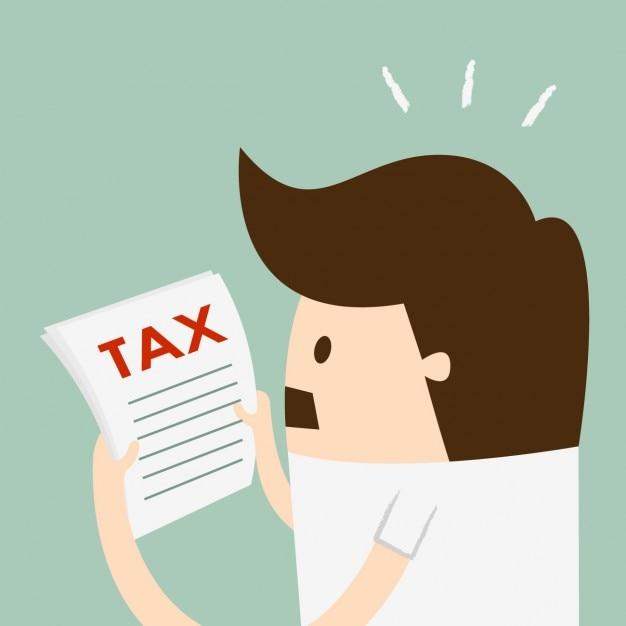 Ein mann liest die steuer Kostenlosen Vektoren