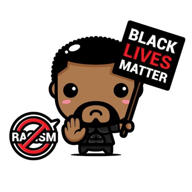 Ein mann mit einem stopp-rassismus-symbol Premium Vektoren