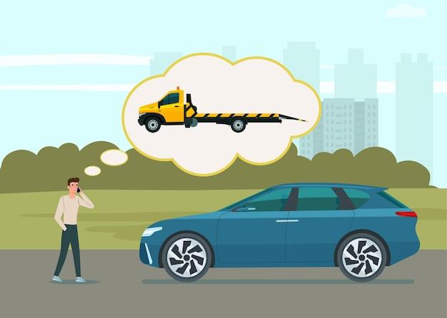 Ein mann nennt eine abschleppwagenillustration Premium Vektoren