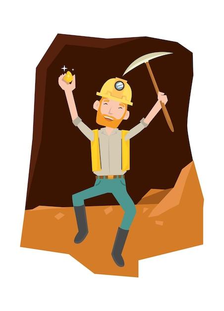 Ein mann sieht glücklich aus, nachdem er das gold in der höhle bekommen hat Premium Vektoren