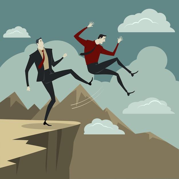 Ein mann tritt seinen gegner von der klippe. Premium Vektoren
