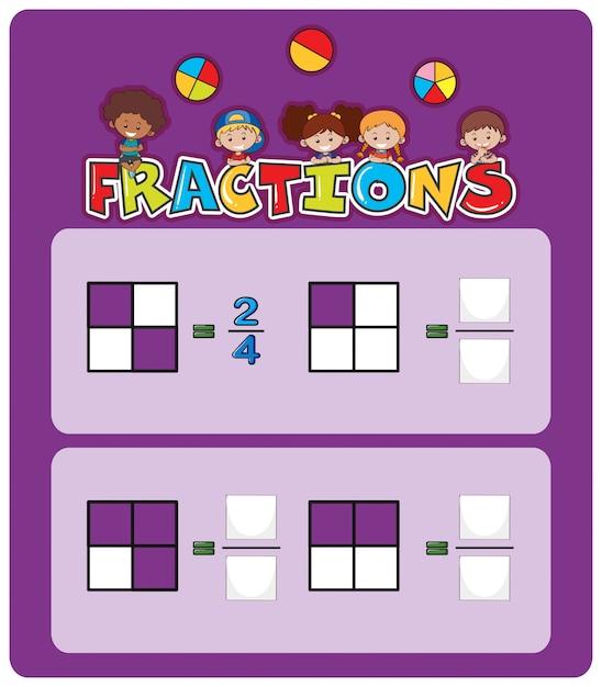 Ein mathematisches fraktionsarbeitsblatt Kostenlosen Vektoren