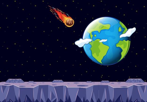 Ein meteor kommt in richtung planet erde Kostenlosen Vektoren