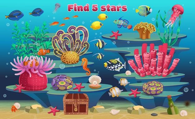 Ein minispiel für kinder. finde 5 sterne. korallenriff mit tropischen algenfischen und meerestieren. vektorillustration im karikaturstil. Premium Vektoren