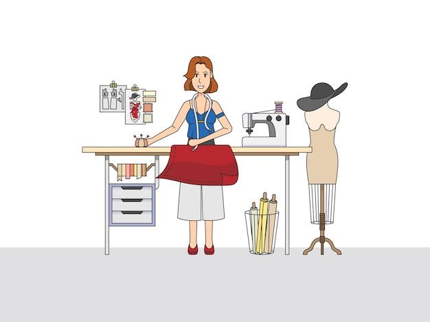 Ein modedesigner bei der arbeit Kostenlosen Vektoren