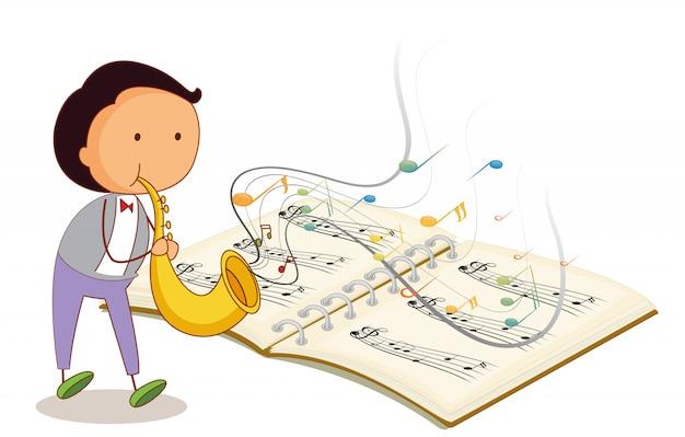 Ein musiker, der eine trompete mit einem musikalischen notizbuch hält Kostenlosen Vektoren