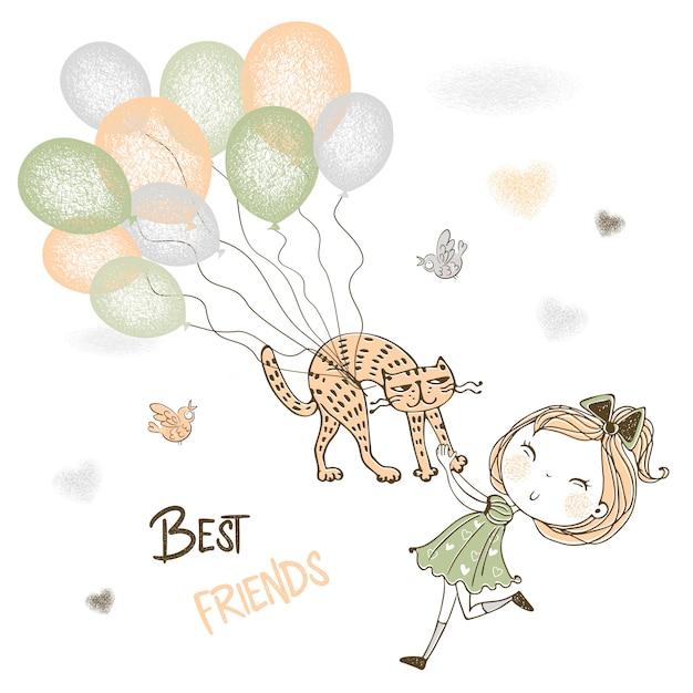 Ein nettes mädchen fängt ihre haustierkatze, die auf ballone fliegt. Premium Vektoren