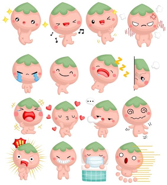 Ein niedlicher cartoon-pfirsichjunge mit vielen emotionen Kostenlosen Vektoren