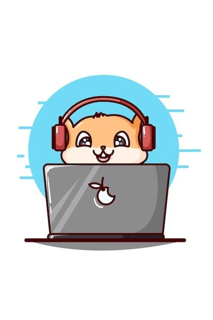 Ein niedlicher hamster, der kopfhörer trägt und die laptopillustration spielt Premium Vektoren