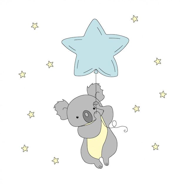 Ein niedlicher koala fliegt einen ballon in den himmel zwischen den sternen. Premium Vektoren