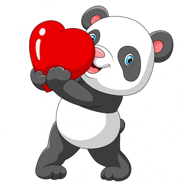 Ein niedlicher panda mit einem roten herzen Premium Vektoren