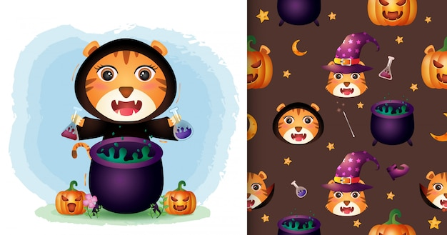 Ein niedlicher tiger mit hexenkostüm halloween-charaktersammlung. nahtlose muster- und illustrationsdesigns Premium Vektoren