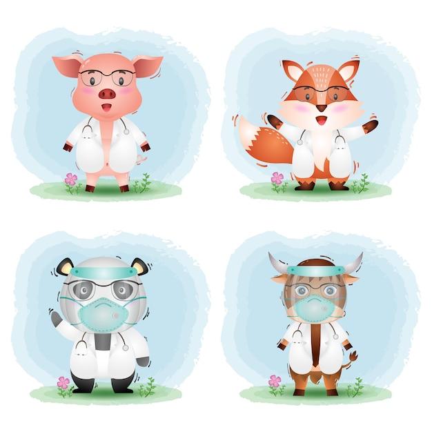 Ein niedliches tier mit arztkostümkollektion: schwein, fuchs, panda und yak Premium Vektoren