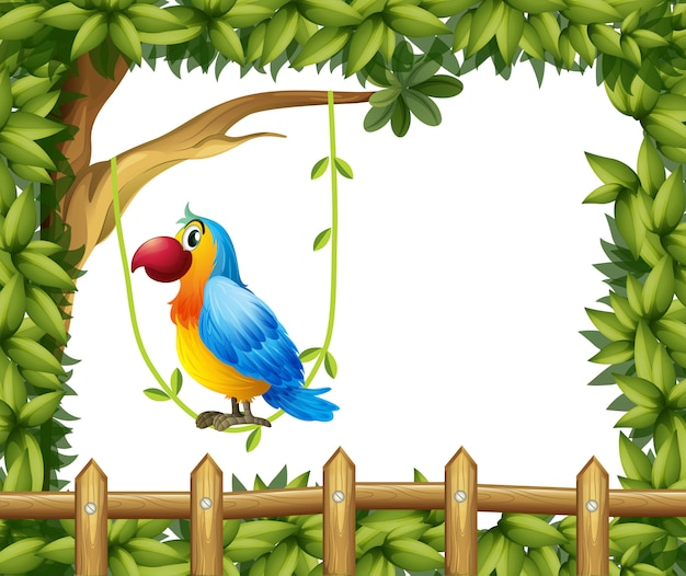 Ein papagei, der in einem rebstock nahe dem bretterzaunrahmen mit blättern hängt Kostenlosen Vektoren