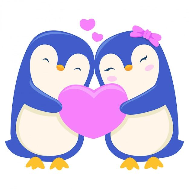 Ein pinguin schenkt seinem partner am valentinstag ein geschenk Premium Vektoren