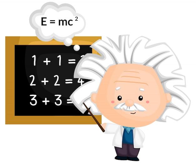 Ein professor, der mathematik und physik unterrichtet Premium Vektoren