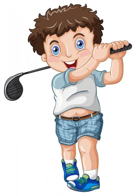Ein pummeliger männlicher golfspieler Kostenlosen Vektoren
