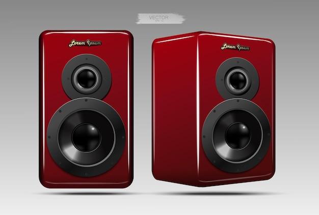 Ein realistisches lautsprecherpaar. Premium Vektoren