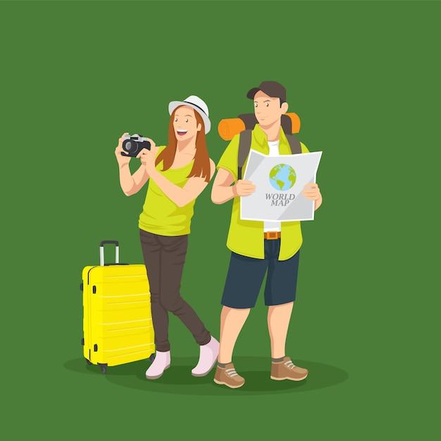 Ein reisendes paar, das foto macht Premium Vektoren