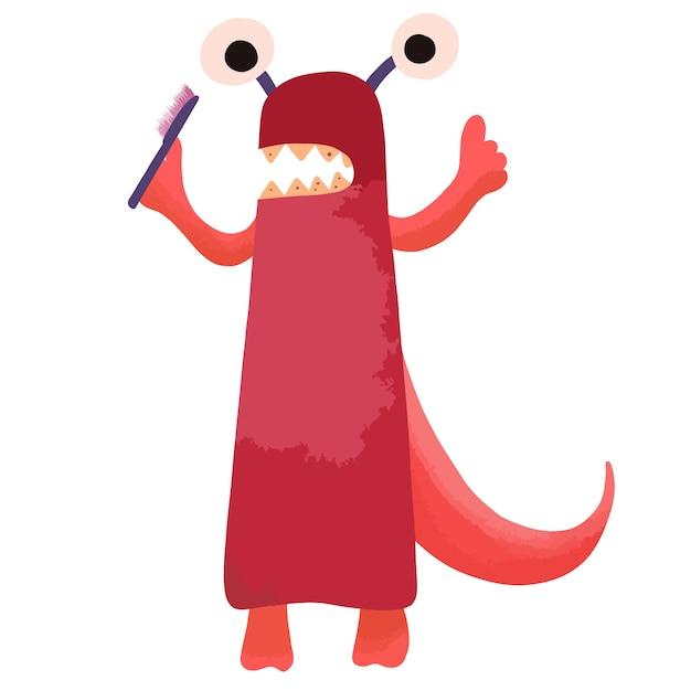 Ein rotes cartoon-monster mit kariösen zähnen steht mit einer zahnbürste in der hand. Premium Vektoren