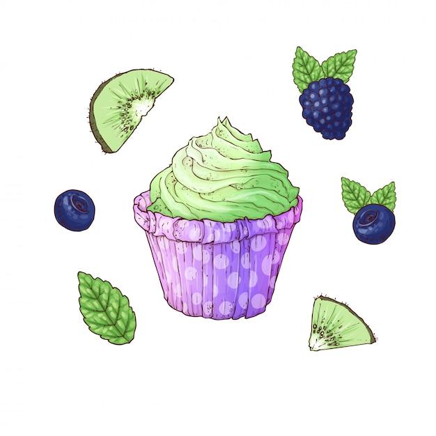Ein satz der brombeer-heidelbeerkiwi des kleinen kuchens. handzeichnung vektor-illustration Premium Vektoren