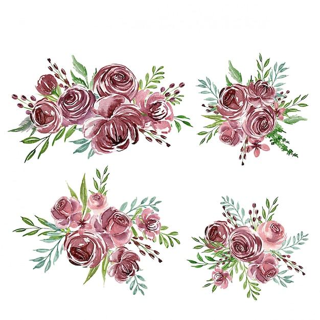 Ein satz der purpurroten aquarellblumenanordnung oder -blumenstraußes für hochzeitseinladung Premium Vektoren