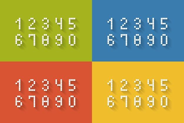 Ein satz flacher pixelzahlen auf vier verschiedenen farben vervollständigt die vektorillustration von null bis neun Kostenlosen Vektoren
