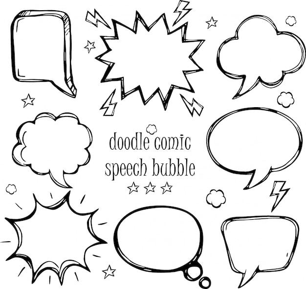 Ein satz komische spracheblasen und elemente des gekritzels mit halbtonschatten Premium Vektoren