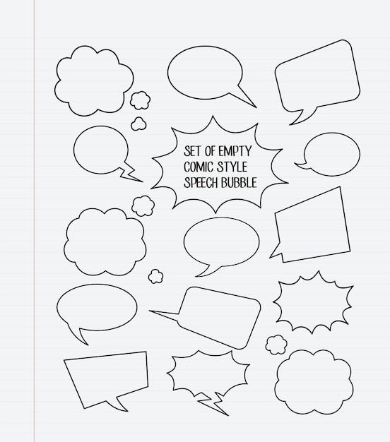 Ein satz leere komische artspracheblasen Premium Vektoren