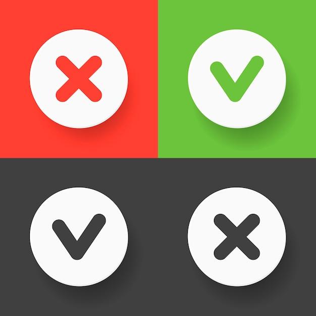Ein satz web-buttons - grünes häkchen, rotes kreuz und graue variantenzeichen Premium Vektoren