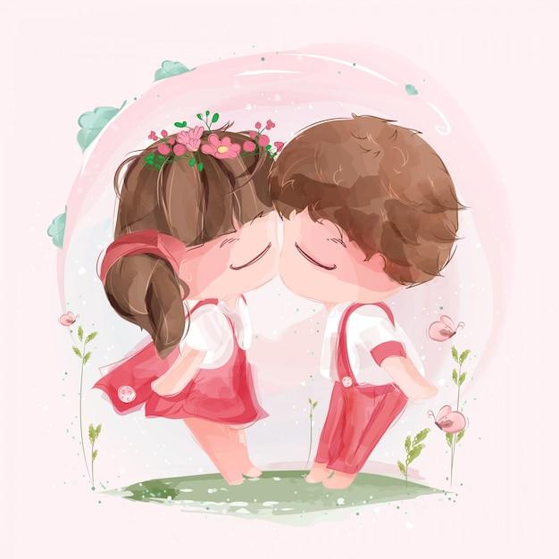 Ein schönes paar, das sich am valentinstag inmitten der pulsierenden natur küsst. Premium Vektoren