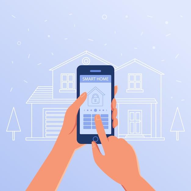 Ein smartphone mit smart-home-einstellungen und controller-system. Premium Vektoren