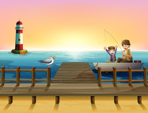 Ein sonnenuntergang am hafen mit den jungen, die fischen Premium Vektoren