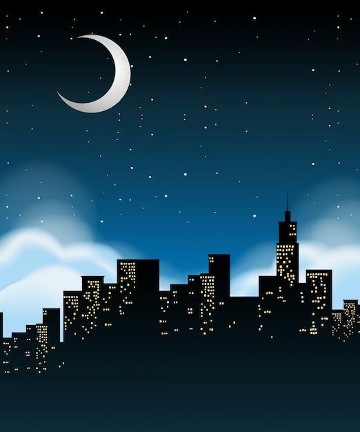 Ein stadtbild in der nacht Kostenlosen Vektoren