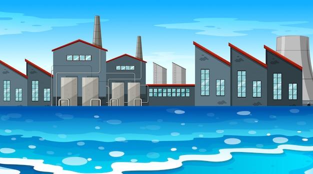 Ein städtischer fabrikszenenhintergrund Kostenlosen Vektoren