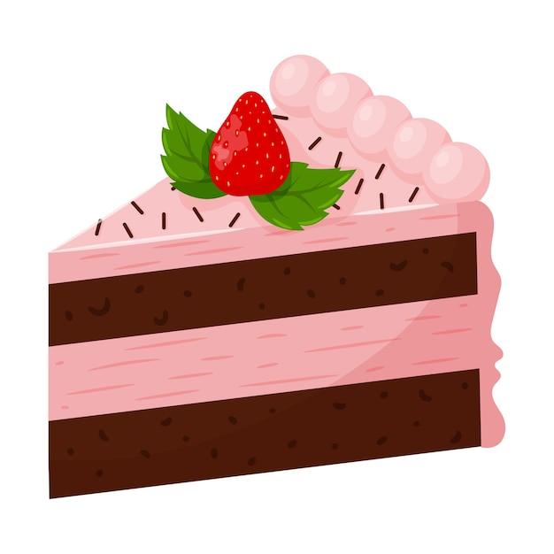 Ein stück erdbeerkuchen mit rosa sahne, dekoriert mit erdbeeren Premium Vektoren