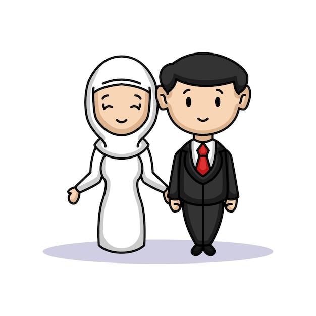 Ein süßes paar braut und bräutigam gerade verheiratet Premium Vektoren