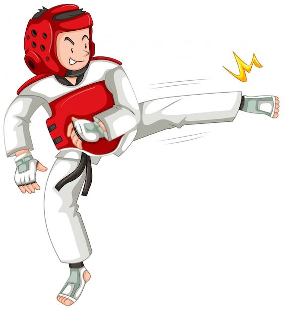 Ein taekwondo-athletencharakter Kostenlosen Vektoren