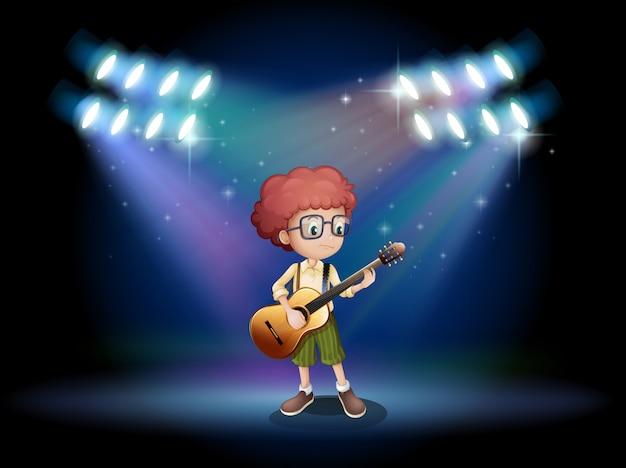 Ein talentierter teenager mitten auf der bühne mit einer gitarre Kostenlosen Vektoren