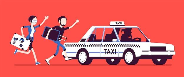 Ein taxi jagen. junger schwarzer mann und frau mit gepäck in eile laufen, um ein auto, öffentliches personenkraftwagen der stadt zu erhalten. illustration mit gesichtslosen zeichen Premium Vektoren