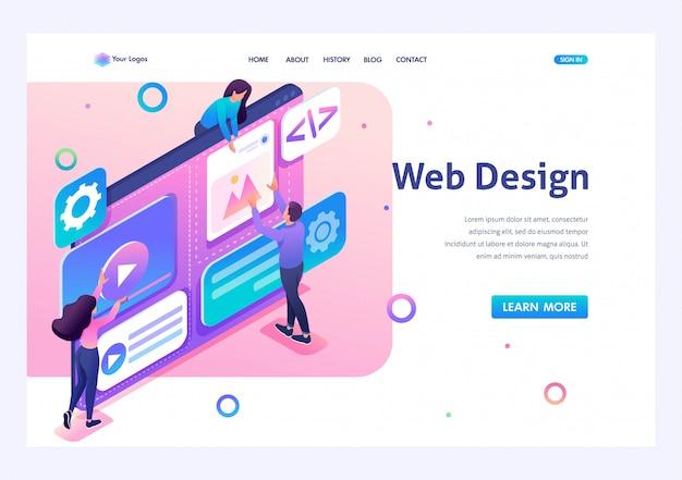 Ein team von spezialisten arbeitet an der erstellung des webdesigns. konzept der teamarbeit. 3d isometrisch. landingpage-konzepte und webdesign Premium Vektoren